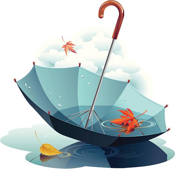 ilustraciones, imágenes clip art, dibujos animados e iconos de stock de paraguas y hojas - moda de otoño