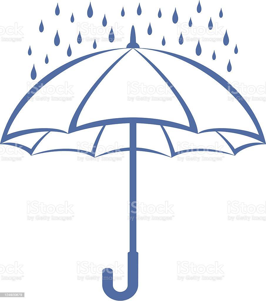 Umbrella and rain, pictogram royalty-free stock vector art