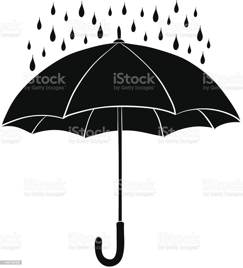 Umbrella and rain, silhouettes royalty-free umbrella and rain silhouettes stock vector art & more images of black and white