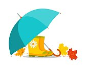 Umbrella, rubber boots and autumn leaves. Bright, positive vector illustration. Isolated on white background.