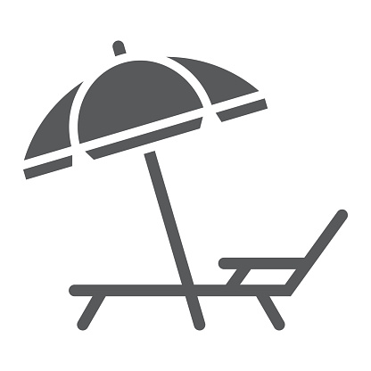 Umbrella And Sun Lounge Glyph Icon Travel And Tourism Deck With Sun Umbrella Sign Vector Graphics A Solid Pattern On A White Background Eps 10 Stock Illustration - Download Image Now
