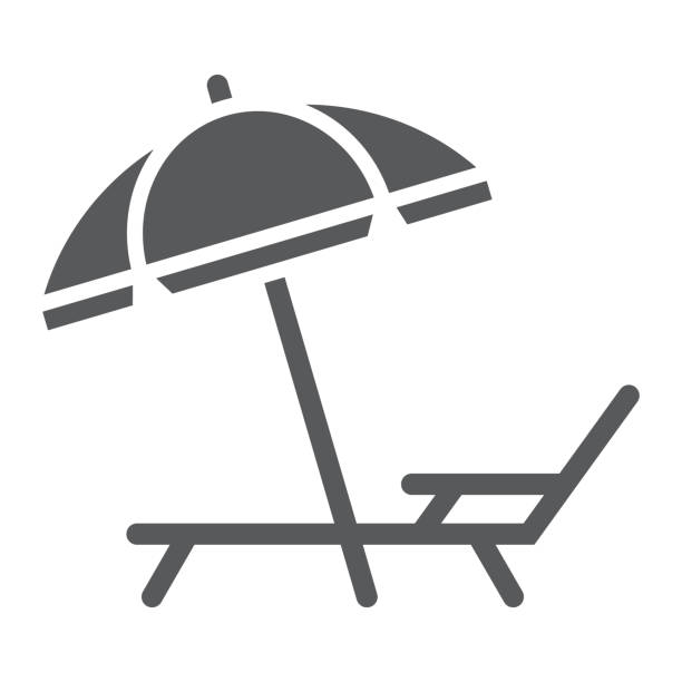 Umbrella and sun lounge glyph icon, travel and tourism, deck with sun umbrella sign vector graphics, a solid pattern on a white background, eps 10. Umbrella and sun lounge glyph icon, travel and tourism, deck with sun umbrella sign vector graphics, a solid pattern on a white background, eps 10. outdoor chair stock illustrations