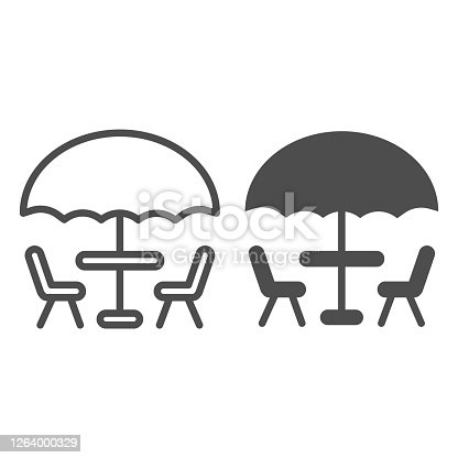 Umbrella and table with chairs line and solid icon, Coffee time concept, street cafe sign on white background, table with umbrella for terrace icon in outline style for mobile, web. Vector graphics