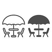 istock Umbrella and table with chairs line and solid icon, Coffee time concept, street cafe sign on white background, table with umbrella for terrace icon in outline style for mobile, web. Vector graphics. 1264000329