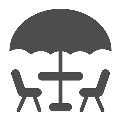 Umbrella and table with chairs solid icon, Coffee time concept, street cafe sign on white background, table with umbrella for terrace icon in glyph style for mobile, web. Vector graphics
