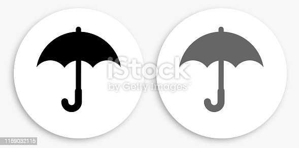 Umbrella Black and White Round Icon. This 100% royalty free vector illustration is featuring a round button with a drop shadow and the main icon is depicted in black and in grey for a roll-over effect.