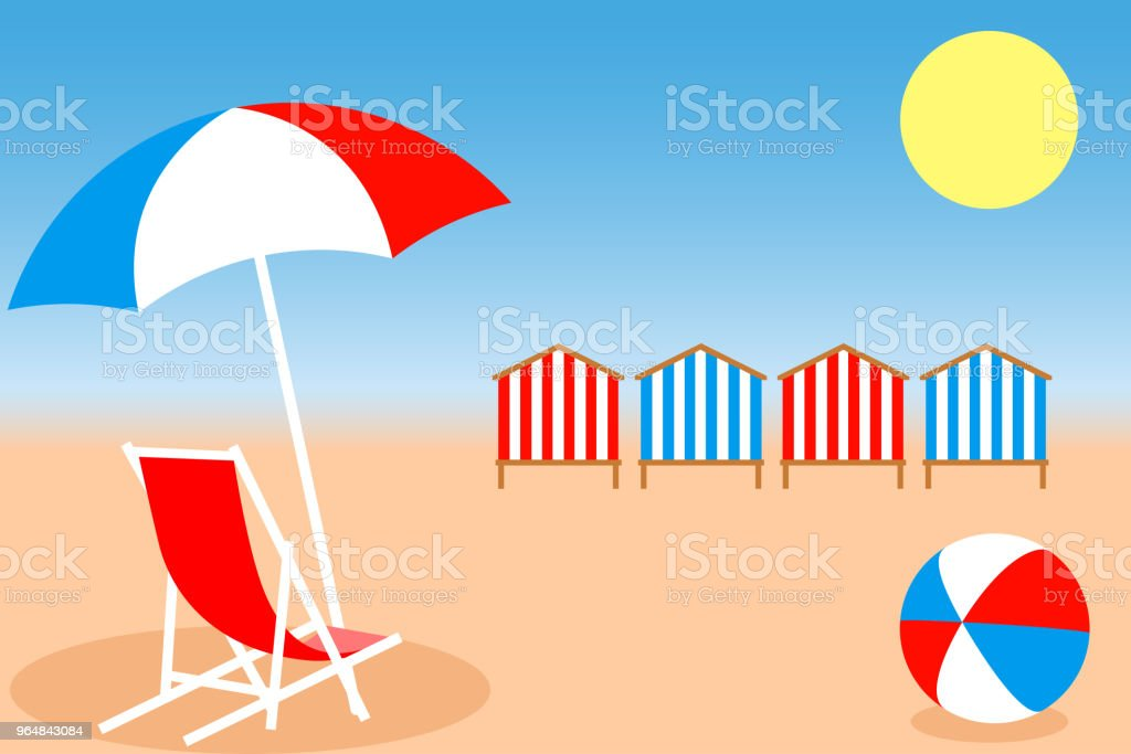 Umbrella, Chair, Bright ball and Beach Huts on the seacoast. Vector illustration EPS10 royalty-free umbrella chair bright ball and beach huts on the seacoast vector illustration eps10 stock vector art & more images of beach