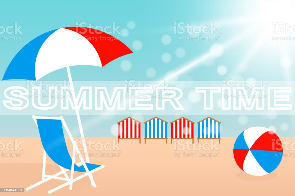 Umbrella, Chair, Bright ball and Beach Huts on the seacoast. Vector illustration EPS10 royalty-free umbrella chair bright ball and beach huts on the seacoast vector illustration eps10 stock vector art & more images of ball