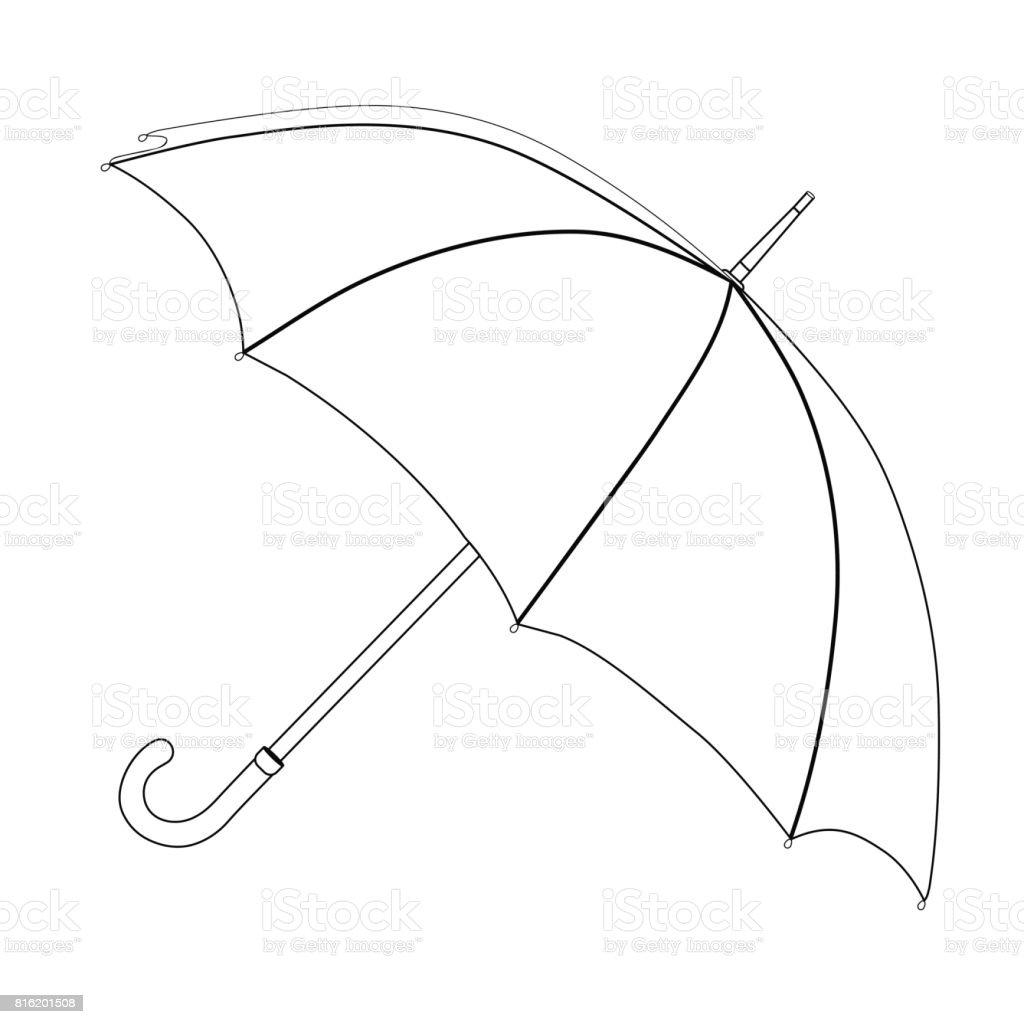 Parapluie coloriage dessin vectoriel parapluie ouvert noir et blanc isolé sur fond