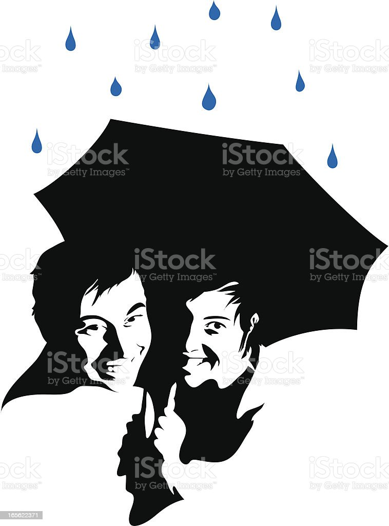 Umbrella Couple royalty-free stock vector art