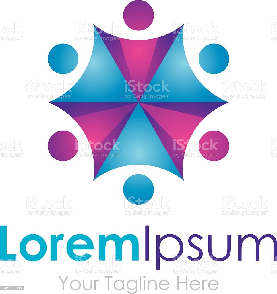 Umbrella Effect Purple Blue Partnership Team Element Icons ...