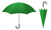 Green umbrella vector illustration isolated on white background.