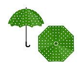 Umbrella green with polka dot on white background