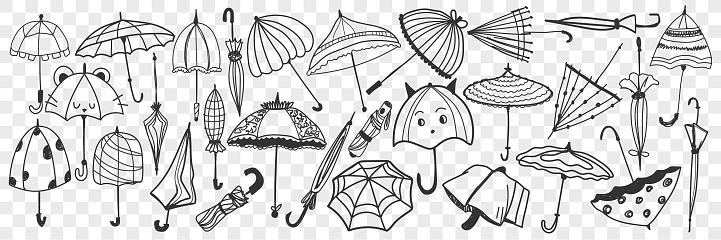 Umbrella hand drawn doodle set