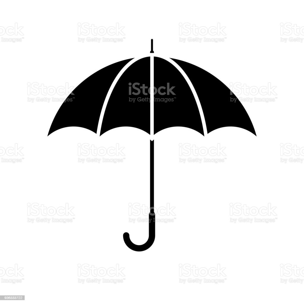 ccc5d7da9 Black, minimalist icon isolated on white background. royalty-free umbrella.  Open comp