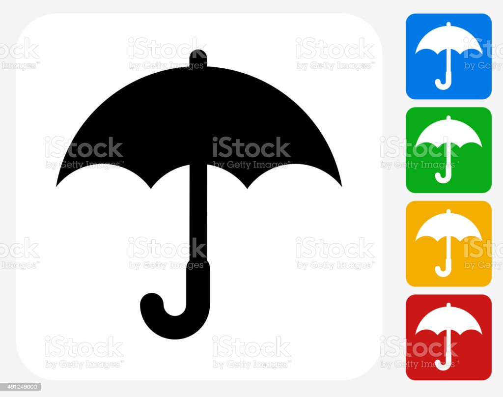Umbrella Icon Flat Graphic Design vector art illustration