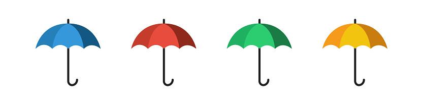 Umbrella icon set. Vector illustration. Flat umbrella collection.