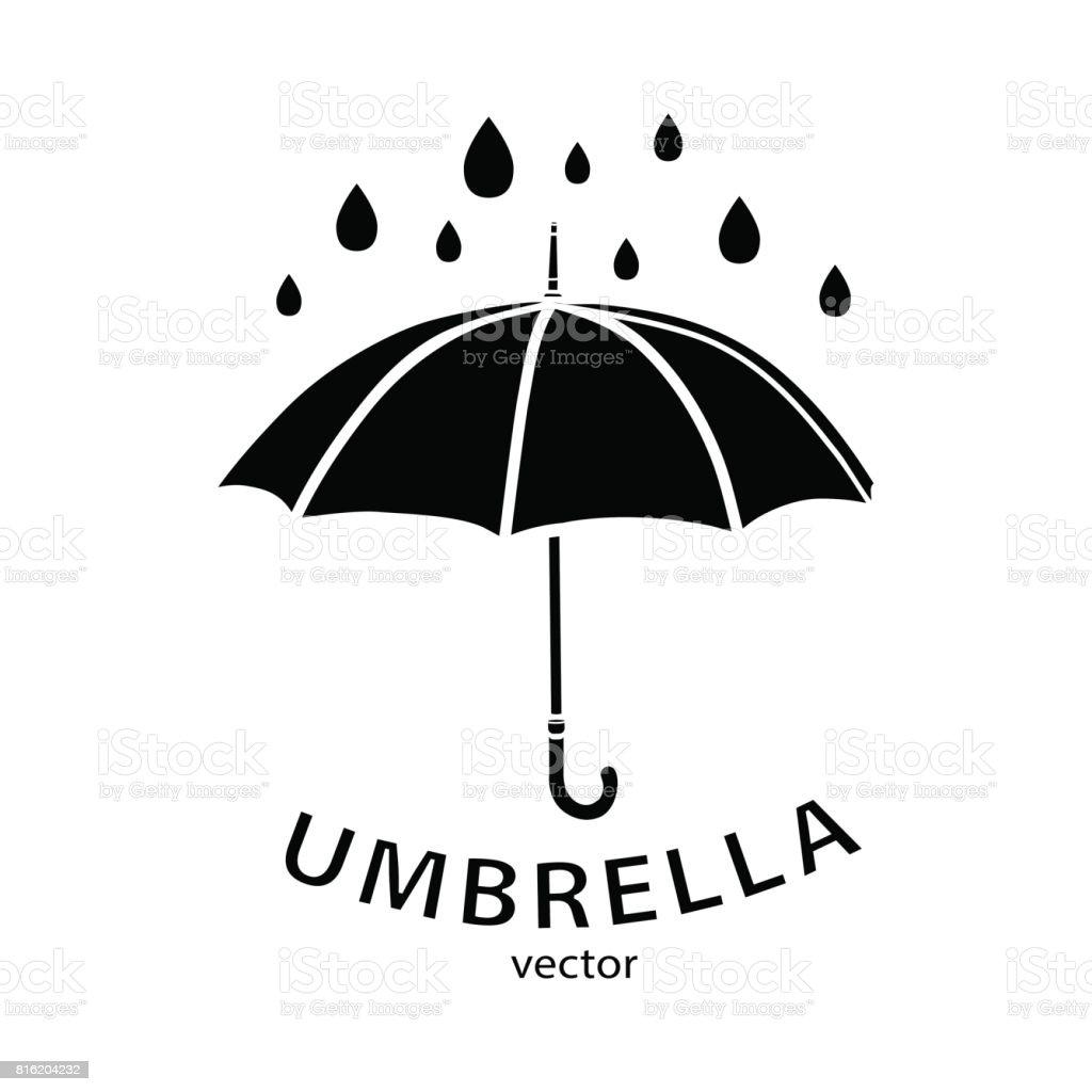 şemsiye Simgesi Vektör Logosu Siyah şemsiye Siluet Yağmur Damlaları