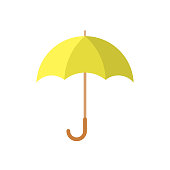 Yellow umbrella icon in flat design. Vector illustration. Umbrella sign on white background.