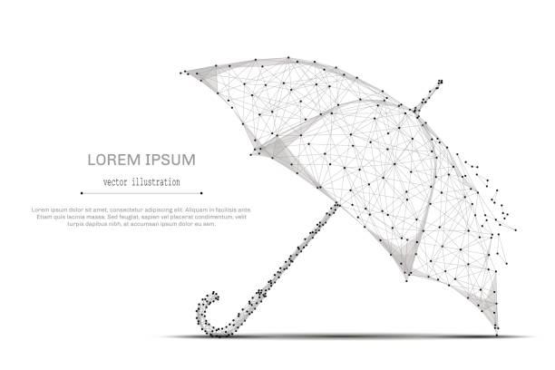 Regenschirm-low-Poly-grau – Vektorgrafik