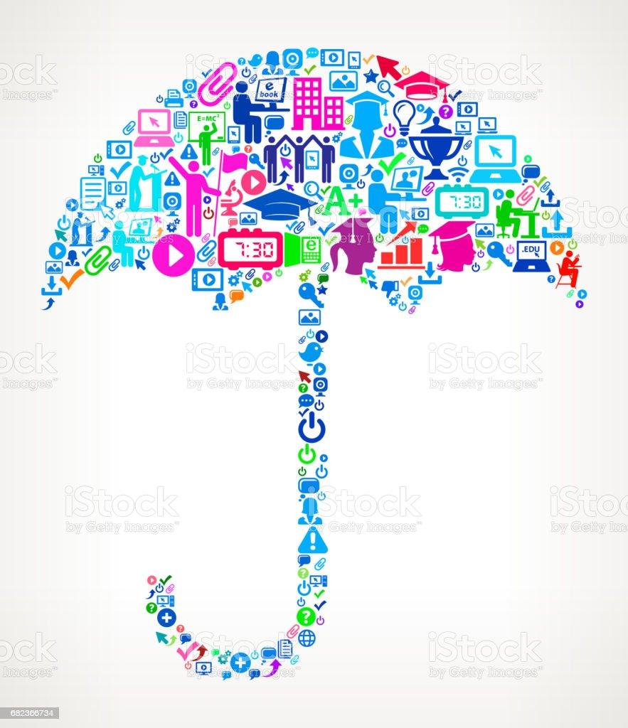 Paraply Modern utbildning och College grad ikonen mönster royaltyfri paraply modern utbildning och college grad ikonen mönster-vektorgrafik och fler bilder på 20-24 år