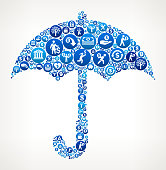 Umbrella  Money Blue Icon Pattern Background. The main object depicted in this vector illustration is composed from a multitude of money and finance icons placed on blue round buttons. These buttons vary in size and in the shade of the blue color and form a pattern of shapes that seamlessly blends to fill in the outlines. The background of the illustration is light. The money icons include coins, dollar signs and other representations of money and economy.