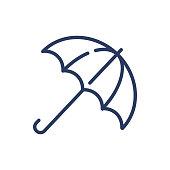 istock Umbrella outline thin line icon 1218487200