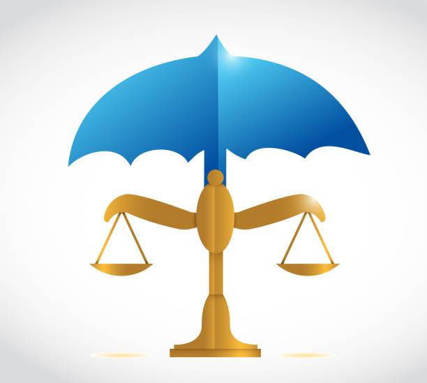 umbrella over a balance illustration design - supreme court stock illustrations