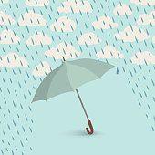 Umbrella over rain cloudy sky background. Clouds and raindrop pattern