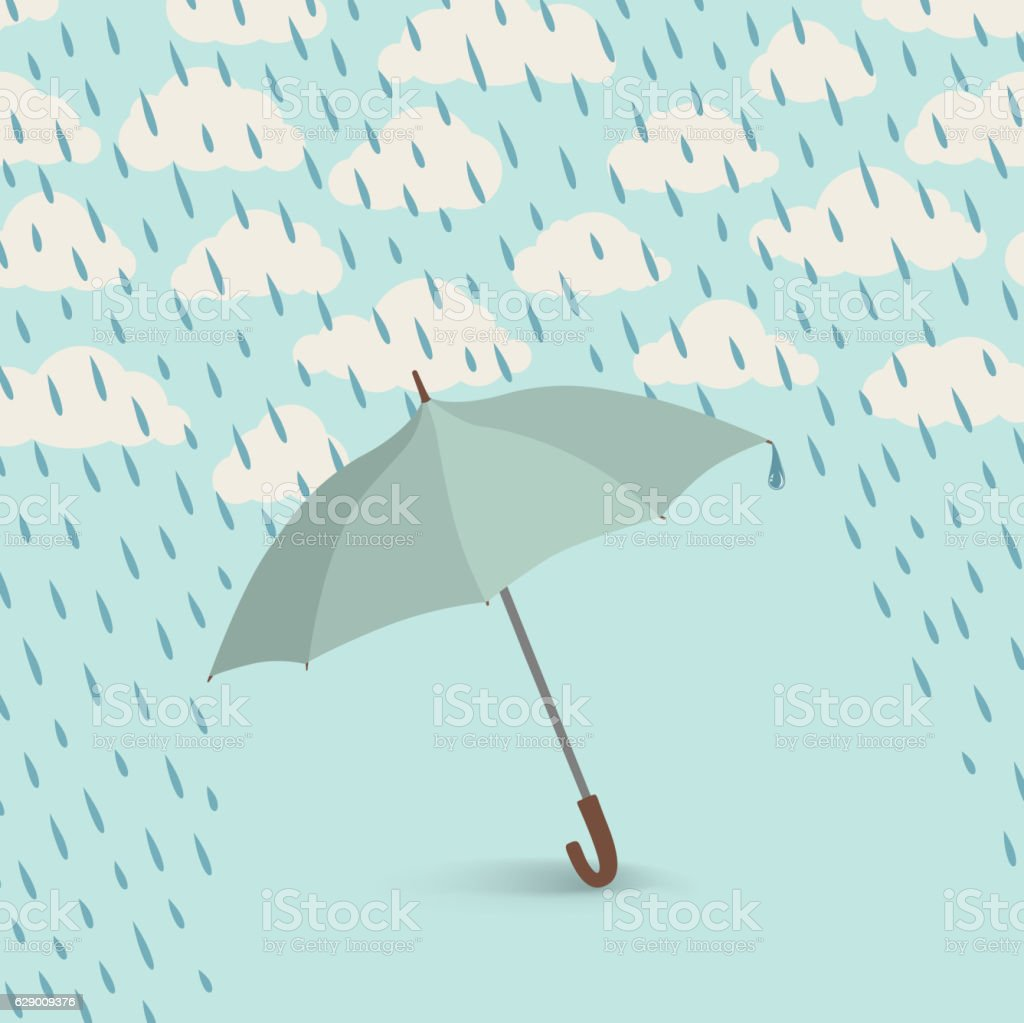 Umbrella over rain cloudy sky background. Clouds and raindrop pattern - Illustration vectorielle