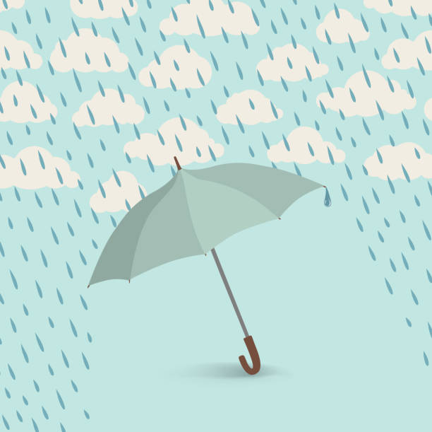 Umbrella over rain cloudy sky background. Clouds and raindrop pattern vector art illustration