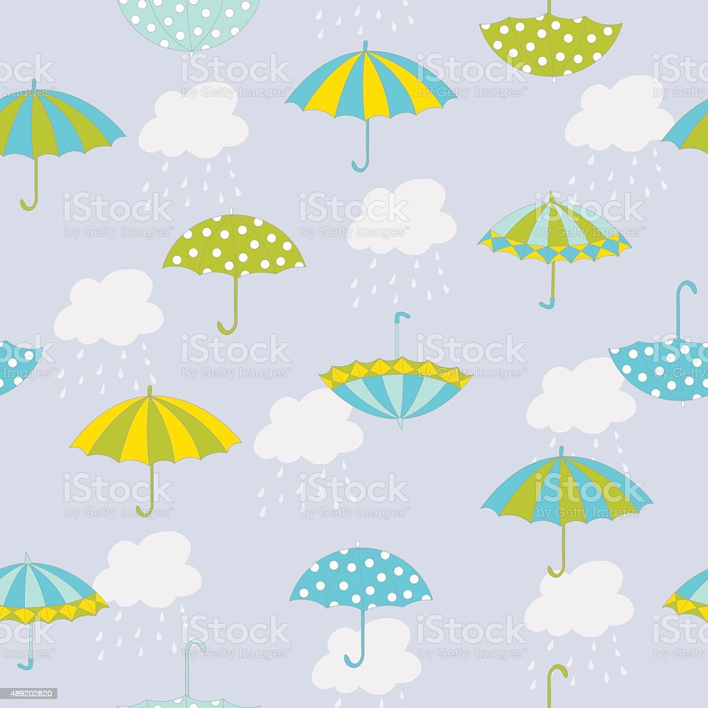 Vector autumn seamless pattern with hand drawn umbrellas, clouds and...