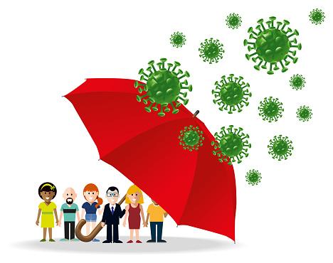 Umbrella Protecting People from Coronavirus