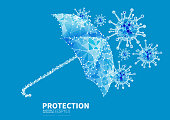 Umbrella protection against viruses, vector technology dots and lines connecting low polygon background