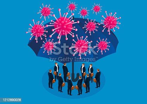 istock Umbrella protects people from infection with new coronavirus pneumonia 1212890028