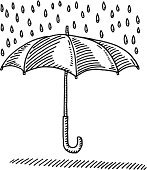 Hand-drawn vector drawing of an Umbrella Rain Protection Symbol. Black-and-White sketch on a transparent background (.eps-file). Included files are EPS (v10) and Hi-Res JPG.