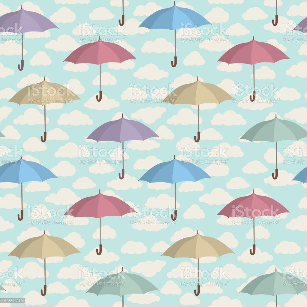 Umbrella seamless pattern. Cloudy sky tiling pattern. vector art illustration