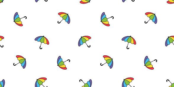 umbrella seamless pattern rainbow LGBT pride raining isolated cartoon tile wallpaper repeat background doodle illustration design