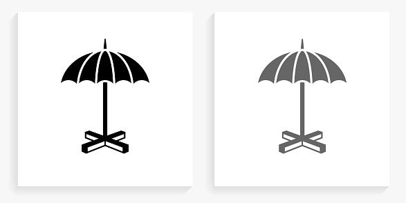 Umbrella Stand Black and White Square Icon