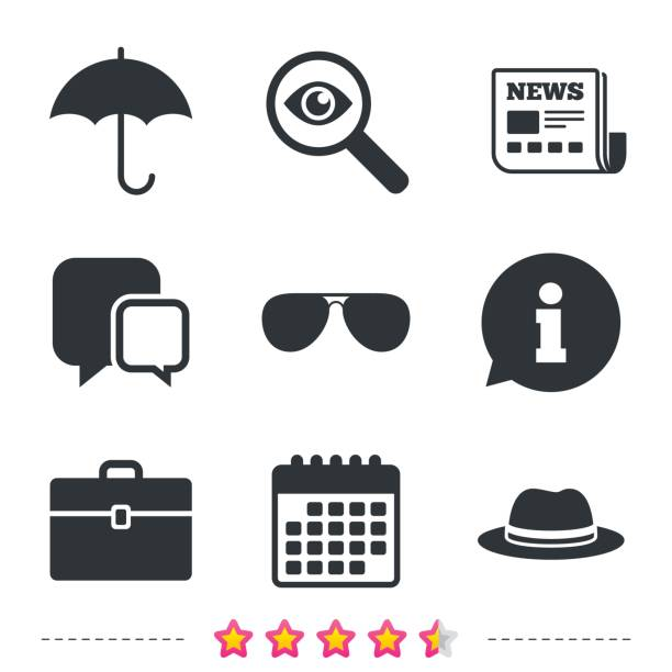 Umbrella, sunglasses and hat with case. vector art illustration