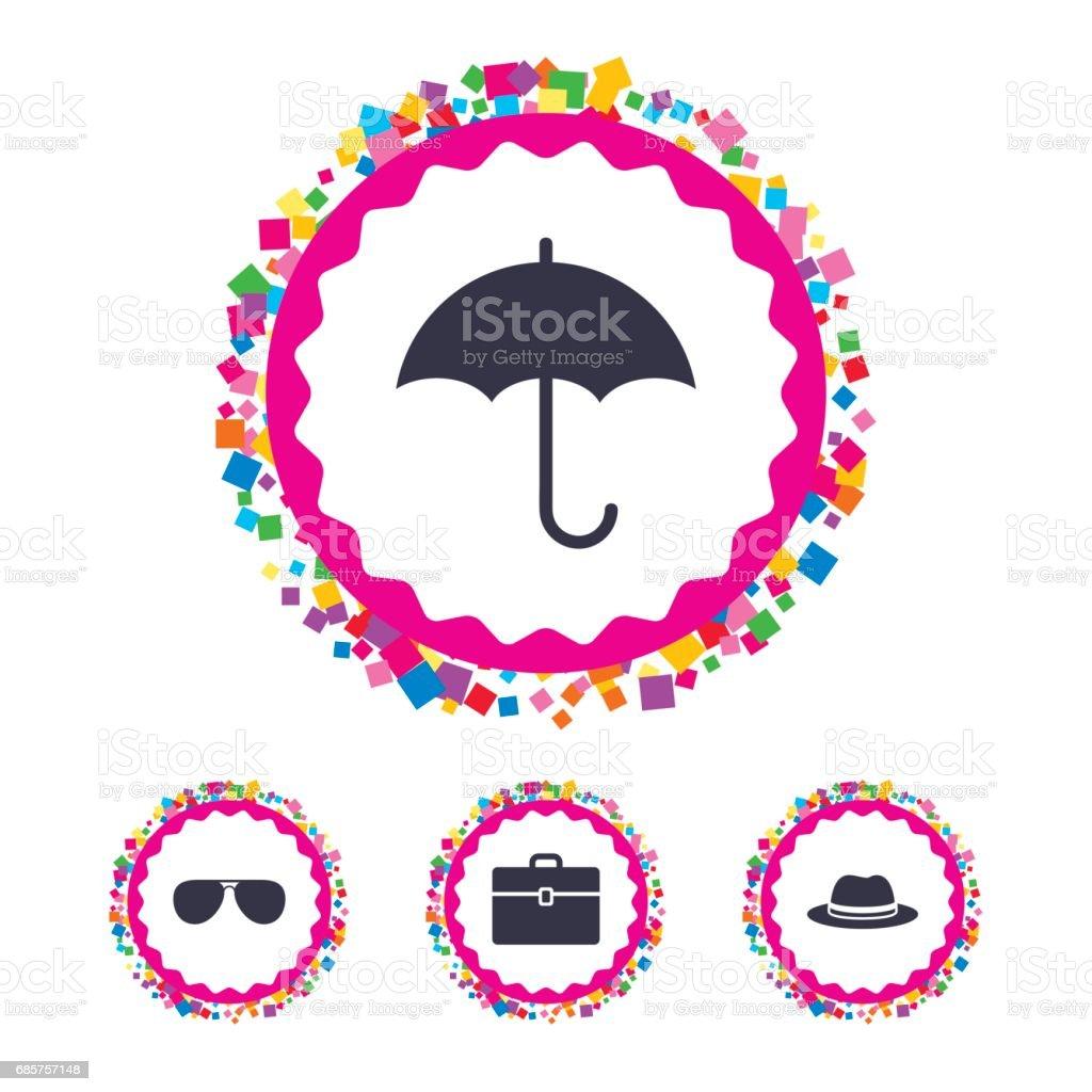 Parasol, zonnebril en hoed met geval. royalty free parasol zonnebril en hoed met geval stockvectorkunst en meer beelden van applicatie