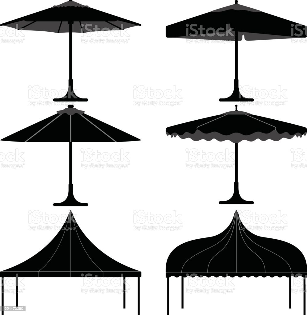 Umbrella Tent Gazebo Canopy Camp in Silhouette Vector vector art illustration