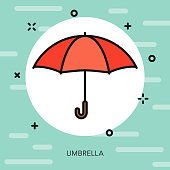 Umbrella Thin Line Spring Icon