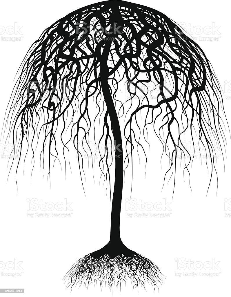 Umbrella tree vector art illustration