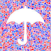 Umbrella royalty free vector US patriotic interface icon pattern. Vector Icons include USA, made in the USA, United States, US map, and patriotic iconography. Icons are blue and red on white background. Image works for patriotic United States pride ideas. Icon download includes vector art and jpg file. Background