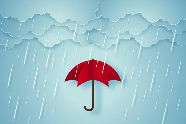 illustrations, cliparts, dessins animés et icônes de parapluie avec fortes pluies, la saison des pluies, de style art papier - pluie