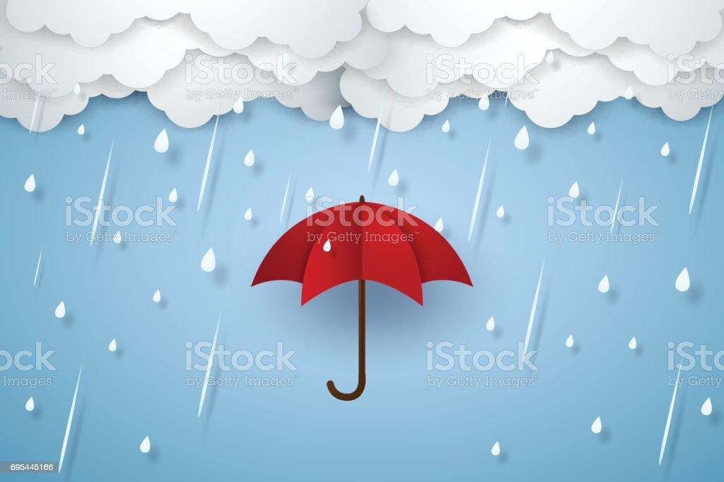 Umbrella with heavy rain , rainy season vector art illustration
