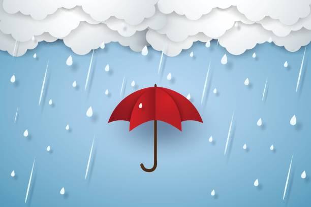 illustrations, cliparts, dessins animés et icônes de parapluie avec fortes pluies, la saison des pluies - pluie