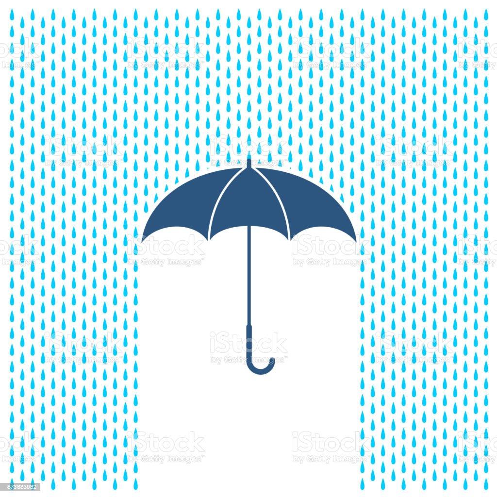 傘を持って雨の図。雨の水滴と傘の保護。 ベクターアートイラスト