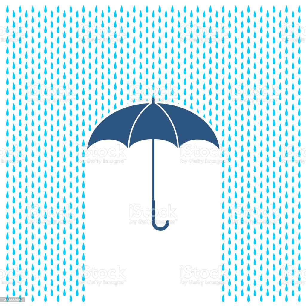 Umbrella with rain illustration. Rain water drops and umbrella protection. vector art illustration